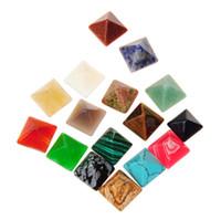 kristall edelstein lose perlen großhandel-Hot DIY Perlen Cabochon Cut Qualität Poliesh Gute Multi Heilung Crystal Energy Steine 14mm Pyramide Probe lose GemStone Mineral Collection