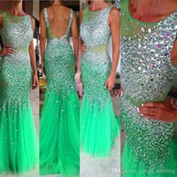 Wholesale Transparent Backless Sequin Dress - Free Shipping Crystal Evening dress Long Turquoise O-Neck Beaded Tulle Transparent Navy Blue Mermaid Prom Gowns vestidosdenoiva