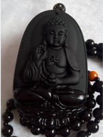 Wholesale Obsidian Necklace For Men - Buddha Pendant Natural obsidian Vintage Necklace Black Buddha Head Pendant For women&men Jade Jewelry Free shipping A781