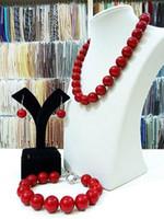 collar de coral de china al por mayor-Joyería hermosa 10 mm China cuentas de coral rojo NecklaceBracel etearrings