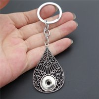 Wholesale Tear Drop Buttons - 12pcs lot Vintage Tear Drop Keyrings Noosa Chunks Metal Ginger Alloy 12mm Snap Buttons Key Chains Women Jewelry
