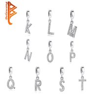 Wholesale Sterling Silver Alphabet Letters - BELAWANG Fit Pandora Bracelets Necklace Authentic 925 Sterling Silver Jewelry Crystal Pendant 26 Letter Alphabet Charm For Jewelry Making