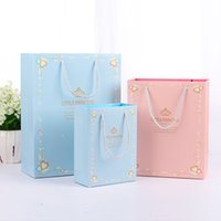 Wholesale Pink Paper Gift Bags Wholesale - 3 sizes, blue and pink, Princess gift packages, gorgeous gift bags, and premium packaging bags,make the product more beautiful