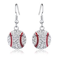 Barato Futebol Basquete Em Forma-Hot Sale 1Pair Zinc Alloy Rhinestone colorido 15 milímetros Basquetebol de futebol e forma de baseball Cute Hemisphere Dangle Earrings Jewelry For Women