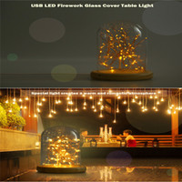 Wholesale Coffee Table Glass Cover - Wholesale- Premium USB LED Firework Glass Cover Table Light Night Light Wood Base Bedside Lamp A Christmas Gift For Child Coffee Shop Party