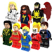 Wholesale Plastic Skull Figures - Super Heroes Building Blocks Toys For Children Mini Blazing Skull Mandarin Nightwing Action Figures Kids Gifts Bricks 8pcs lot