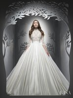 Dress Gowns online - 3 4 long sleeve high neck wedding dresses 2017 Ersa Atelier princess ball gown embroidery lace beaded bodice and satin skirt bridal gowns