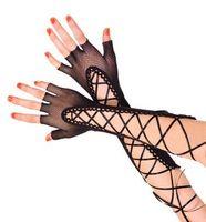 garota de luvas pretas venda por atacado-Atacado-Goth Girl Party Sexy Dressy mulher oco Out luvas Lady bandage fishnet Mittens semi-dedo protetor solar luvas de renda feminino preto