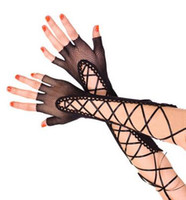 Wholesale girls fingerless gloves black - Wholesale- Goth Girl Party Sexy Dressy Woman Hollow Out Gloves Lady bandage fishnet Mittens semi-finger sunscreen lace gloves Female Black