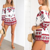 Summer Floral Playsuit Women 2017 Slash neck Off the Shoulder Случайные комбинезоны Ladies Bodysuits Rompers Beach Комбинезон One Piece