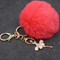 Wholesale Wholesale Keychain Bows - 8cm Women PomPom Plush Key Ring Fur Pom Pom Bow Keychain Keyring Fluffy Rex Rabbit Fur Ball Key Chain Handbag Pendant Charm