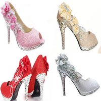 Wholesale Diamond Heels Bow - FREE SHIPPINGwedding shoe peep toe fish mouth round head thin with shallow mouth sandals with high bar diamond women's shoes 225