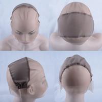 ingrosso cappelli di base della parrucca-Parrucca di colore marrone 5PCS Tappo di protezione di base ebrea di tappo completo per fare parrucche Rete elastica sulla parte superiore