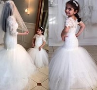 Wholesale Short Lace Wedding Dres - 2016 White Lace Flower Girls Dresses For Weddings Beauty Short Sleeves Mermaid Girl Birthday Party Dress Trumpet Girl's First Communion Dres