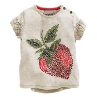 Wholesale Strawberry Cotton Shirts - BST15 NEW ARRIVAL Little Maven Girls Kids 100%Cotton Short Sleeve Cartoon strawberry Print T shirt girls causal summer t shirt Free Ship