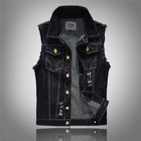 Wholesale mens double vests - summer style designer fashion brand Men's denim vest slim black Outerwear mens denim Coats jackets casual Sleeveless vest 5XL