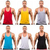Wholesale Sports Singlets For Men - Fitness Men Blank Stringer Cotton Tank Top Singlet Bodybuilding Sport Undershirt Clothes Gym Vest Muscle Singlet for free shipping
