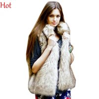 Wholesale Knit Vest Fur Collar - New Hot 2016 Winter Waistcoat Women Fur Vest Faux Fur Coat Leisure Women Warm Gilet Vest Plus Size M-XL Sand Collar Outwear Vests SV005838