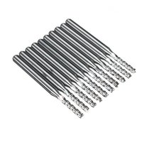 Wholesale for carbide end mills online - 10pcs x2mm Carbide End Mill Engraving Bits for CNC PCB Machinery Rotary Burrs