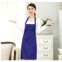 Wholesale Multi color Plain fashion apron solid color big pocket family cook cooking home baking cleaning tools bib baking art apron