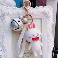 Wholesale Key Couple Cute - 2017 selling Cartoon cute bear, little rabbit couple key ring, creative bell leather pendant wholesale
