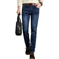 Wholesale Jean S Elasticity - Wholesale-new Fashion Mens Jeans Casual Jean Trousers Straight Elasticity Denim Jeans Blue Color Famous Brand Biker Jeans Cotton Size28-38
