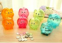 Wholesale Children S Banks Gifts - 1PC Longming HOme Candy color pig transparent piggy bank birthday gift money pot creative child saving pot OK 0316
