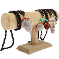 Wholesale Linen Necklace Stands - Single Layer linen Hovering T-Bar Bracelet Necklace Jewelry Display Stand for Home Organization 2 Colour Select