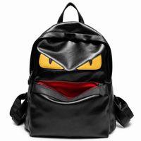 panel de mochila al por mayor-las mujeres del diseñador de monstruos mochilas al por mayor de la nueva venta caliente de dibujos animados del monstruo de las mujeres de alta calidad forradas de cuero suave mochila