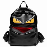 рюкзак оптовых-Wholesale- New Hot sale cartoon Monster women's backpacks  monster designer women high quality panelled backpack soft leather