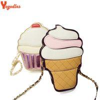 Wholesale Small Cupcake - Wholesale- New Cute Cartoon Women Ice cream Cupcake Mini Bags PU Leather Small Chain Clutch Crossbody Girl Shoulder Messenger bag