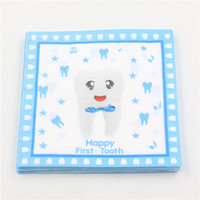 Wholesale- Blue Happy First Tooth Serviette de serviette en papier imprimé Pour les types Party Decoupage Festas Tissu Servilleta 33cm * 33cm 20pcs / pack / lot