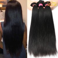 Wholesale 12 Inch Remy Hair Extensions - Brazilian Virgin Hair Extension 3 4 5 Bundles Brazilian Peruvian Indian Straight Weave Remy Hair Wholesale Unprocessed Brazilian Human Hair