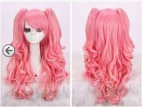 Wholesale Pink Pigtails - Free Shipping>>>new woman pink long curly cosplay full wig + wigs pigtail