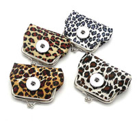 Leopard Print Mini 020 Cloth Leather 18mm Snap Button Kids Women Bag Charms Keyring Key Rings Кошелек Ключевые цепочки ювелирные изделия