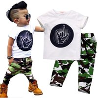 Wholesale 4t Camouflage Clothes - Stylish Infant Toddler Baby Kids Boys Outfits Babies Boy Rock Gesture Tops T-shirt +Camouflage Pants Outfit Set Clothes