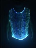 оптоволоконные светодиоды оптовых-световой футболка большой эффект повседневная танк / волоконно-оптическая одежда / Мужская клубная одежда без рукавов RGB LED освещение одежда