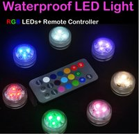 Wholesale Colored Battery Tea Lights - 20pcs Wedding LED Decoration Remote Control Submersible LED Tea Mini Light With Battery Party Table Christmas Vase Hookah Shisha