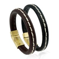 Wholesale magnets for sale free shipping for sale - Group buy Hot sale New Fashion PUNK Charm Leather Rope Bracelets for men Magnet Clasp Christmas Gift Jewelry