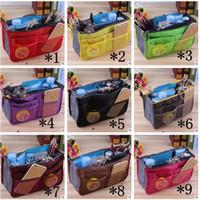 Wholesale Square Mp3 - Women Insert Organizer Purse Makeup Case Handbag Storage Liner Bag Tidy Travel Insert Bag In Bags Phone MP3 Storage Bags 13 Color