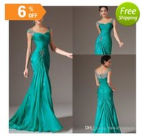 Wholesale Silk Embroidered Pictures - Mermaid V-neck Floor Length Turquoise Chiffon Cap Sleeve Prom Dresses Beaded Pleats Discount Prom Gowns Formal Evening Dresses