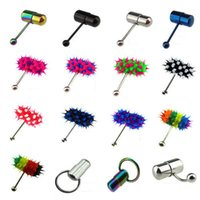 Wholesale Wholesale Vibrating Rings - Wholesale - New hot selling vibrating tongue nails exquisite puncture jewelry vibration silicone tongue ring multi color CA009