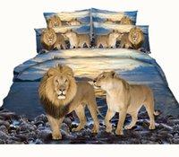 ropa de cama completa del león de la reina al por mayor-Diseño de moda Ocean Lion Leopard Conjuntos de ropa de cama impresos en 3D Tela Algodón Doble Reina King Size Fundas nórdicas Fundas de almohada Fundas de edredón Animal
