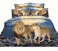 ingrosso tessuti di leone-Fashion Design Ocean Lion Leopard 3D stampato Set di biancheria da letto in tessuto di cotone Twin Full Queen King Size Copripiumino Cuscino Shams Consolatore animale