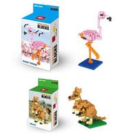 ingrosso bloccare giocattoli animali-Flamingo Blocks Cartoon Animal Display Ornamenti di moda Regalo di Natale per bambini Giraffe Kangaroo Bambini Giocattoli educativi