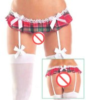 Wholesale Lady Panty Stock - Lace Bow Patchwork Garter Panty Plaid Sexy Garters Belts for stocking Red Lingeries Suspender Belt for women famale girl lady