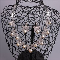 Wholesale Lady Fascinators - Stunning 3 Pieces Fascinators Pearls Jewelry Sets For Bridal Ladies Necklace Earrings Wedding Accessories On Sale