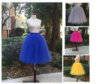 Wholesale Dabuwawa Skirt - 2017 Spring Women Lolita Tulle Skirts 6 Layers Blue Color Plus size S M L XL XXL 5XL Girls Cute Dancewear Tutu Skirt Jupe Saias