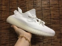 Wholesale Body Spikes - Men Women Cream White Boost 350 V2 New SPLY-350 All White Zebra Black Red 350 V2 Running Shoes Kanye West Sneakers With Box 36-48
