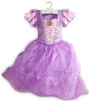 Wholesale Baby Sleeping Beauty - 2017 Pretty baby purple long hair princess sleeping beauty princess dress girls princess aurora flare sleeve dress